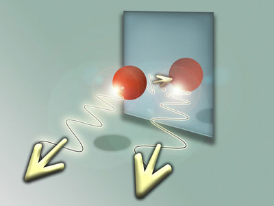 Artist's impression of an atom, photon and mirror