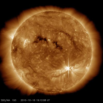 NASA image of a flare emerging from the Sun's surface