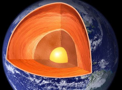 Illustration of the interior of Earth