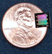 NIST's superconducting circuit containing a micro-drum placed on a sapphire chip