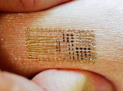 Photograph of a semiconductor tattoo on human skin