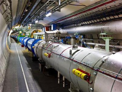 Photograph of the Large Hadron Collider's beam pipes