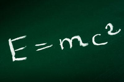 E=mc2 on a blackboard