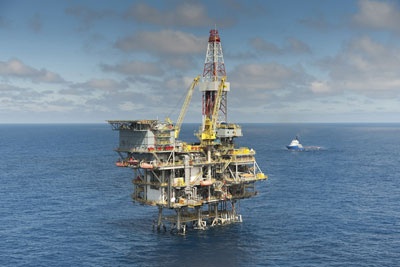 An off-shore oil rig