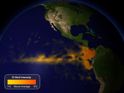 A satellite thermal image of the Pacific Ocean during an El Niño event