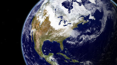 Composite satellite image of North America