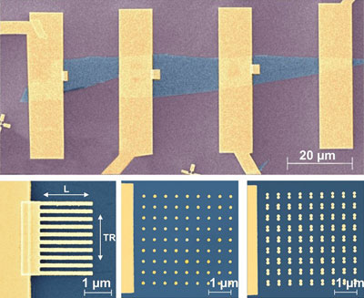 Scanning electron micrographs of the graphene devices