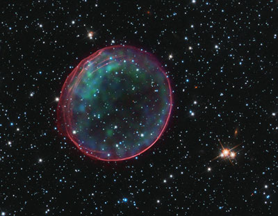 Composite image of supernova remnant SNR 0509-67.5