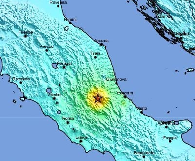 Map showing the location of the 2009 earthquake in L'Aquila