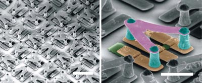 Scanning-electron-microscope images of a chiral terahertz metamaterial