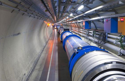 Photo of inside the tunnel of the Large Hadron Collider