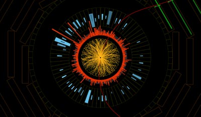 Event display of one of the upsilon decays in the LHC