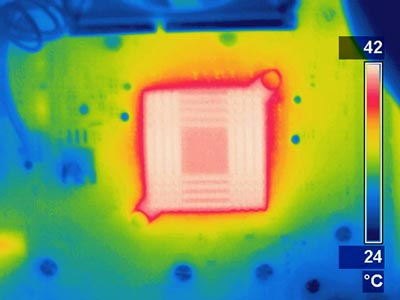 Thermogram of a hot computer chip