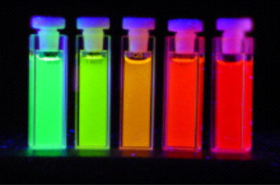 Photograph of different quantum dots