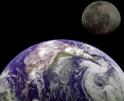 A NASA image of the Earth and the Moon
