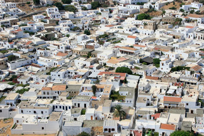 A photograph of traditional white roofs in Greece
