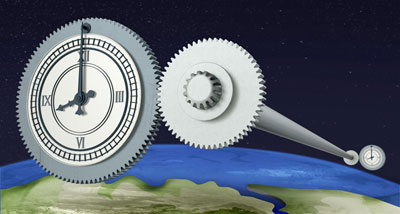 Artist's impression of two optical clocks being connected over 920 km by optical fibres