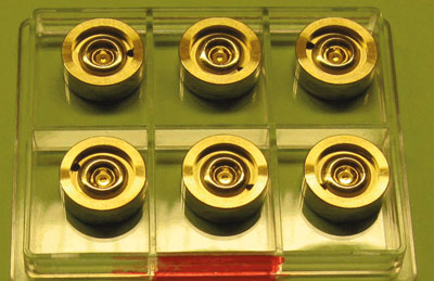 A photograph of gold lenses