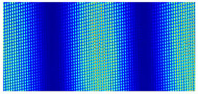 Interference patterns made when light from a frequency comb passes through a Michelson interferometer