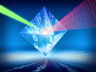 An illustration showing how quantum information can be stored in a diamond