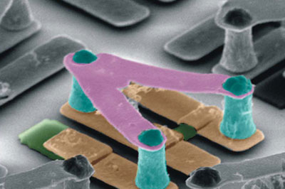 Scanning electron microscope images of a chiral terahertz metamaterial