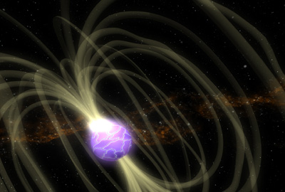 An artist's impression of magnetic-field lines around a neutron star