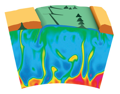 Illustration of plumes of molten rock