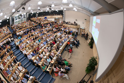 Photograph of CERN auditorium where the Higgs discovery was announced