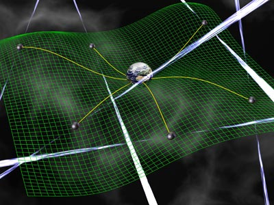 Artist's impression of how pulsars could be used to detect a gravitational wave