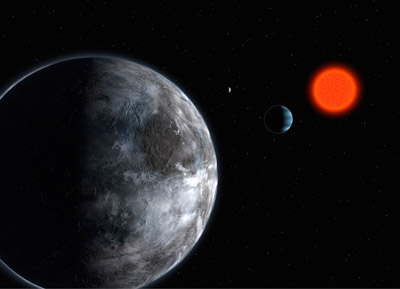Artist's impression of the planetary system around the red-dwarf star Gliese 581