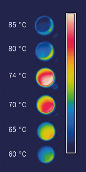 Image showing vanadium-oxide film at various temperatures