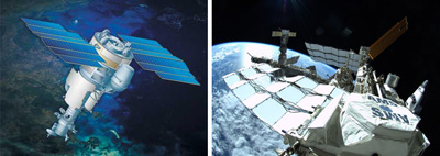 Images of the PAMELA and AMS-02 spacecraft