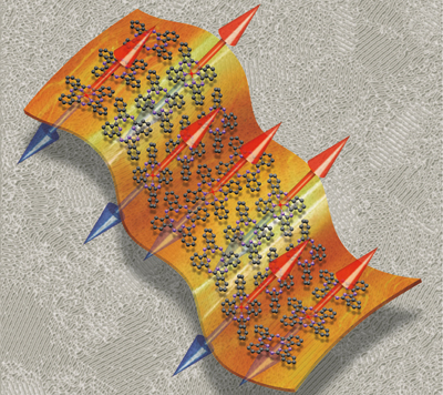 Artist's impression of a phthalocyanine thin film showing copper spins