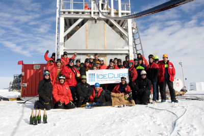 Photograph of IceCube scientists at the South Pole