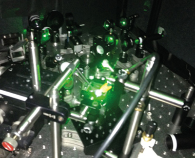 Photograph of the optical system used to study nanodiamonds