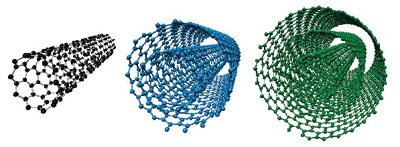 Ball and stick illustrations of carbon nanotubes