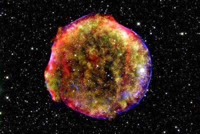An image of Tycho's Nova, the remnant of a Type Ia supernova