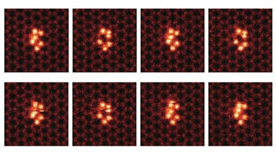 Time sequence of STEM images showing the motion of a silicon cluster on graphene