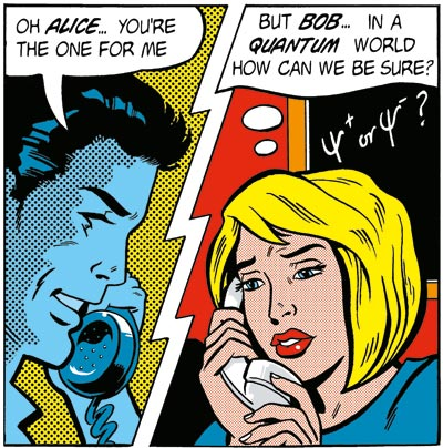 Comic illustration showing Alice and Bob communication