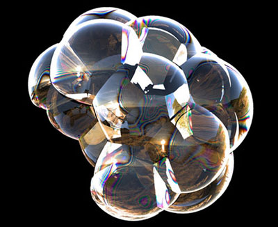 Snapshots from a multiscale model of a cluster of soap bubbles