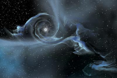 An artist's impression showing a large stellar-mass black hole