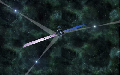Artist's impression of pulsar-based navigation of space probes in deep space