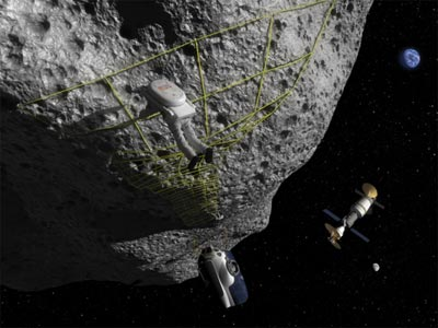 An illustration of a human mission to an asteroid