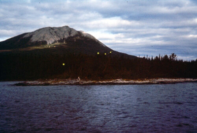 Photograph of earthquake lights over Tagish Lake