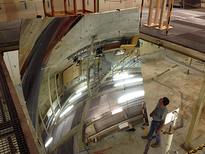 Photograph showing the giant mirror that will be used to look for dark matter