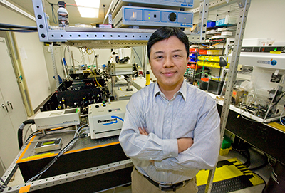 Photograph of Xiang Zhang in his lab at the University of California, Berkeley